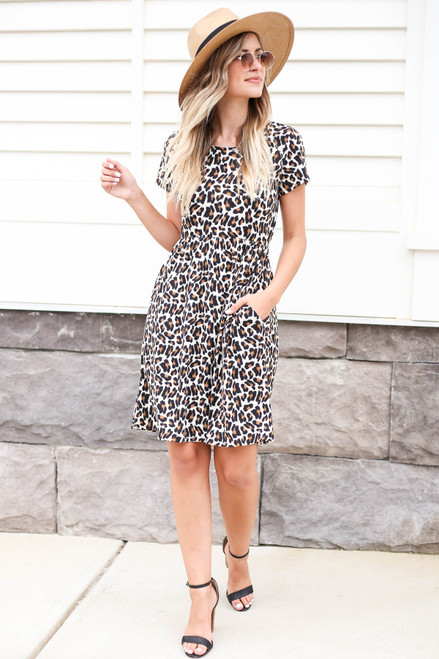 Leopard - Ribbed T-Shirt Dress Front View