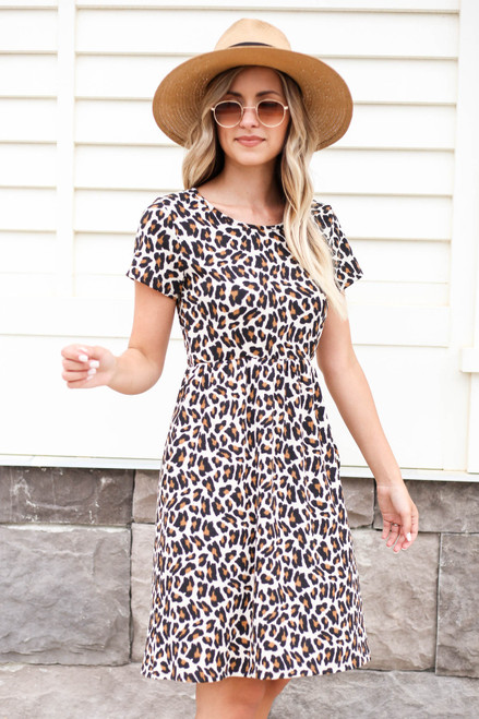 Leopard - Ribbed T-Shirt Dress