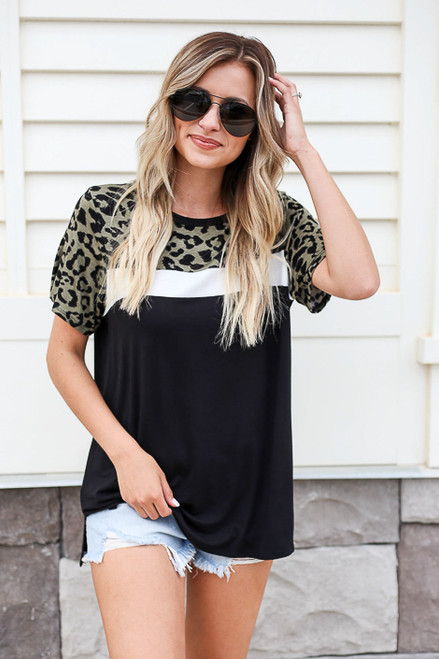 Model wearing Olive Leopard Print Color Block Tee