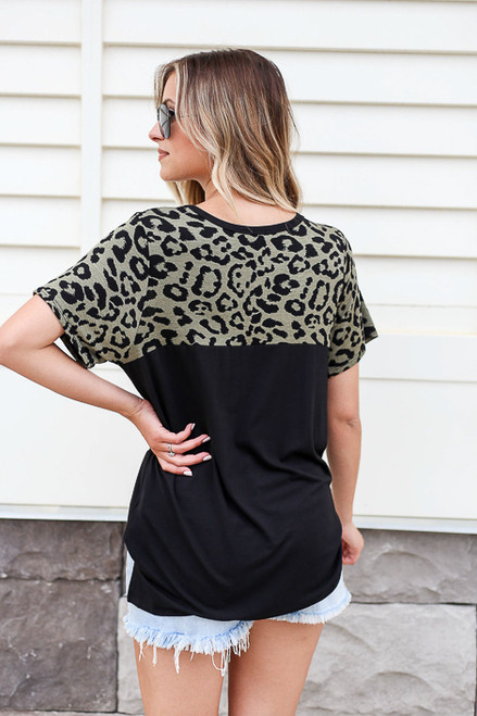 Model wearing Olive Leopard Print Color Block Tee Back View