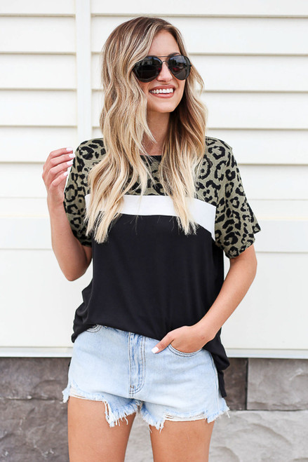 Olive - Leopard Print Color Block Tee