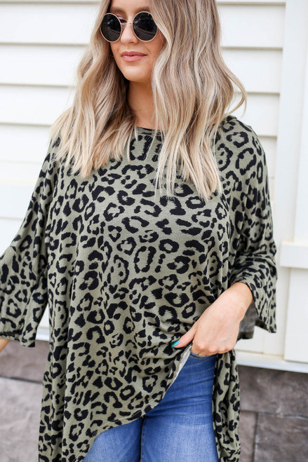 Olive - Oversized Leopard Print Top Detail View