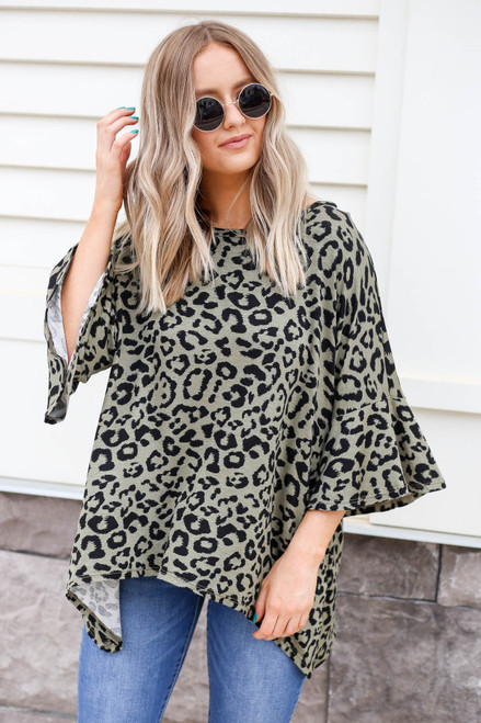 Model wearing Olive Oversized Leopard Print Top Front View