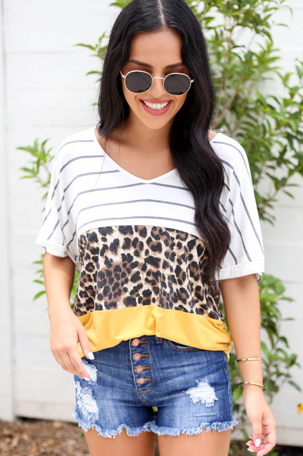 Mustard - Color Block Leopard Print Tee Tucked In