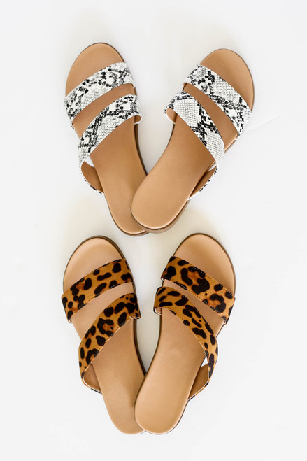 Black - Snakeskin and Leopard Print Double Strap Slip On Sandals