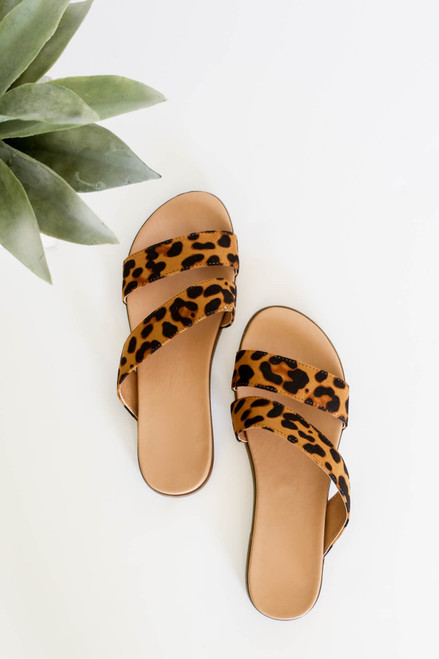 Leopard - Printed Double Strap Slip On Sandals