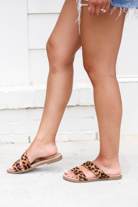 Model wearing Leopard Printed Double Strap Slip on Sandals Side View