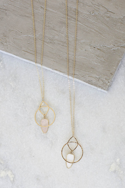 Blush - Long Pendant Necklace Flat Lay