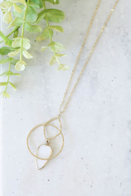 White - Stone And Pendant Necklace Flat Lay