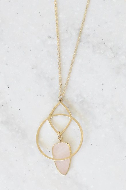 Blush - Stone And Pendant Necklace Flat Lay