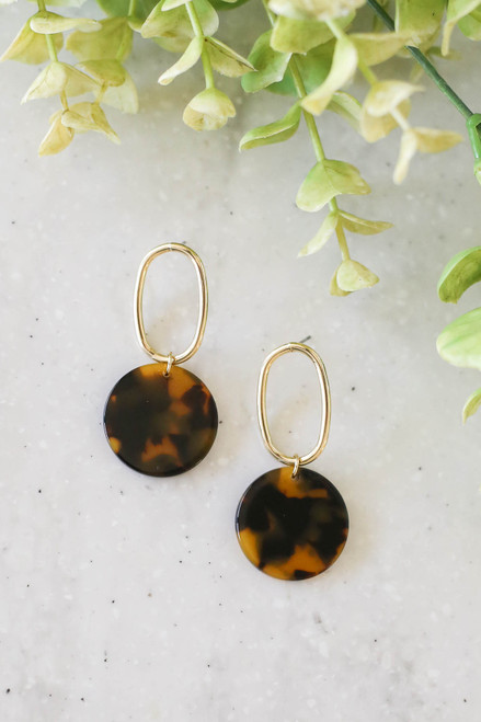 Tortoise - Circle Drop Earrings Flat Lay