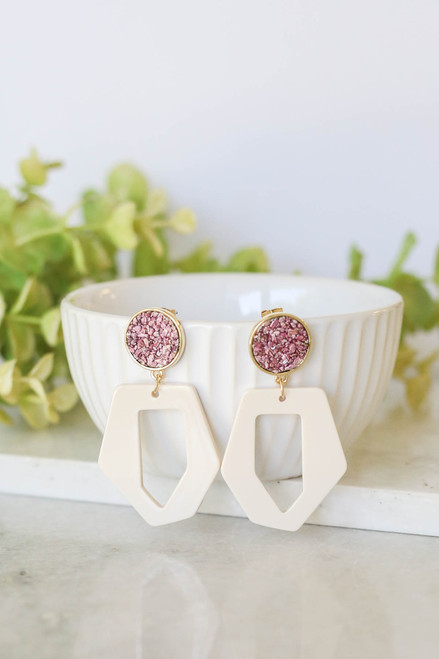 Purple - Retro Drop Earrings on Bowl