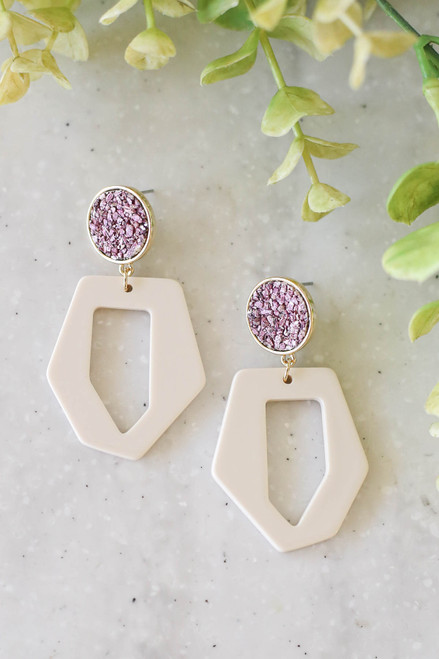 Purple - Retro Drop Earrings Flat Lay
