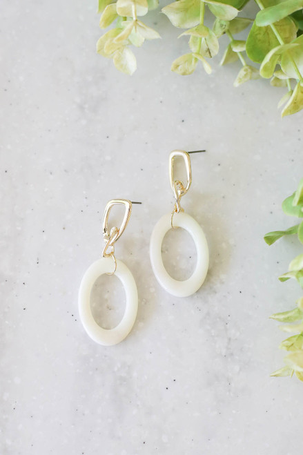 Gold - Oval Drop Earrings Flat Lay