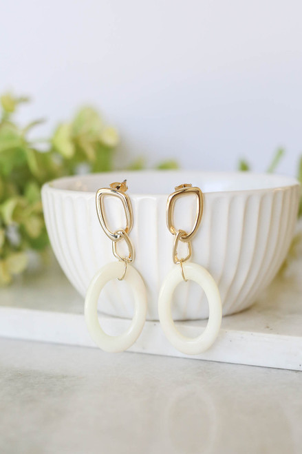 Gold - Oval Drop Earrings on Bowl