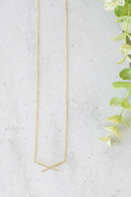 Gold - Cross Bar Necklace Flat Lay