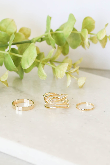 Gold - 3 Piece Assorted Ring Set