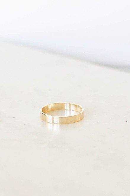 Simple, Thick, Gold Ring Flat Lay