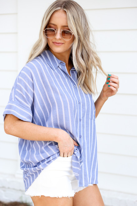 Model wearing Blue and White Striped Button Up Blouse Full View