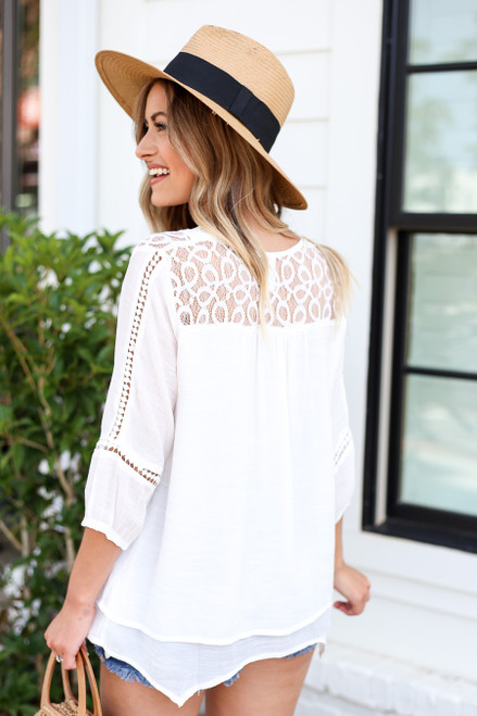 Model wearing White Layered Crochet Lace Top Detail View