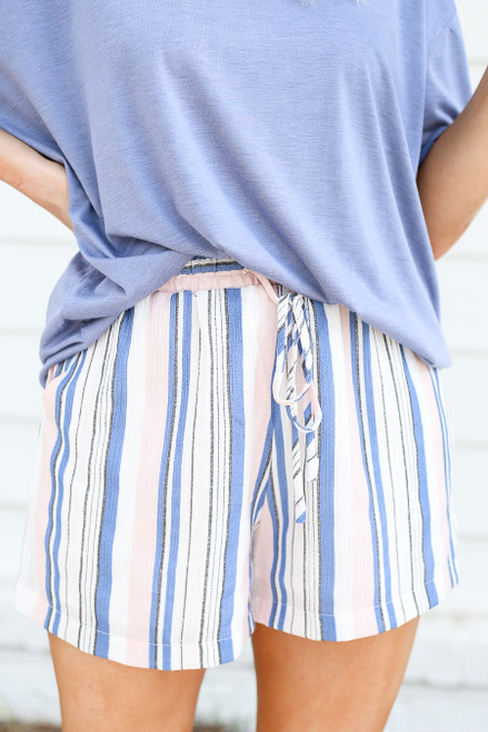 Blush - Striped Drawstring Shorts