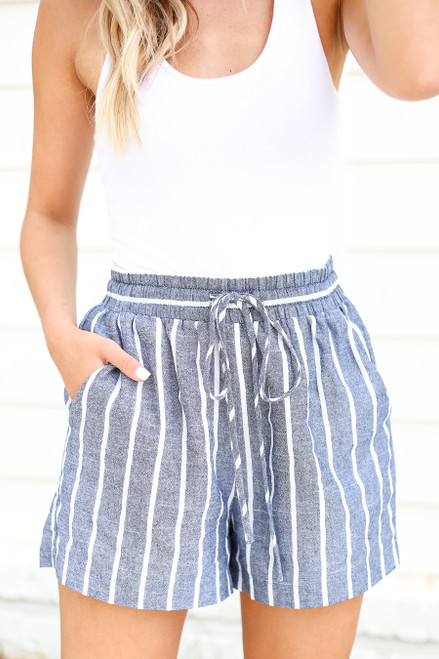 Navy - Striped Tie-Waist Shorts