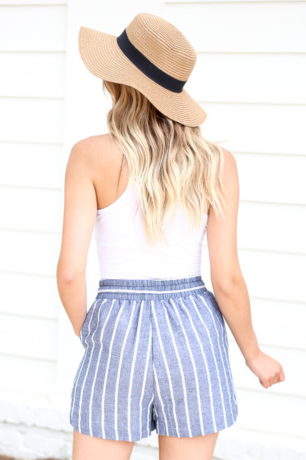 Model wearing Blue and White Striped Tie-Waist Shorts Front View