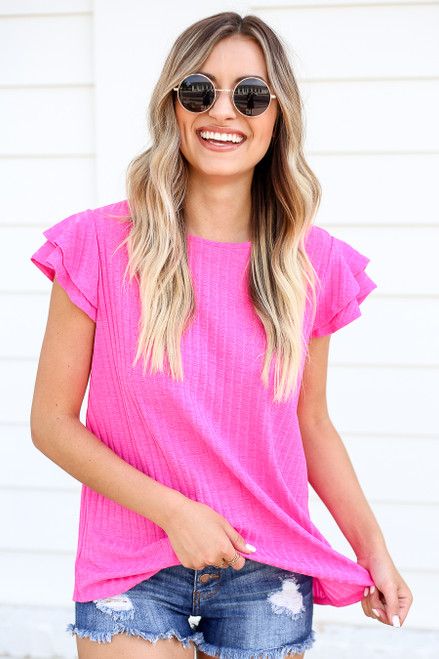 Neon Pink - Ribbed Ruffle Sleeve Top Tucked In
