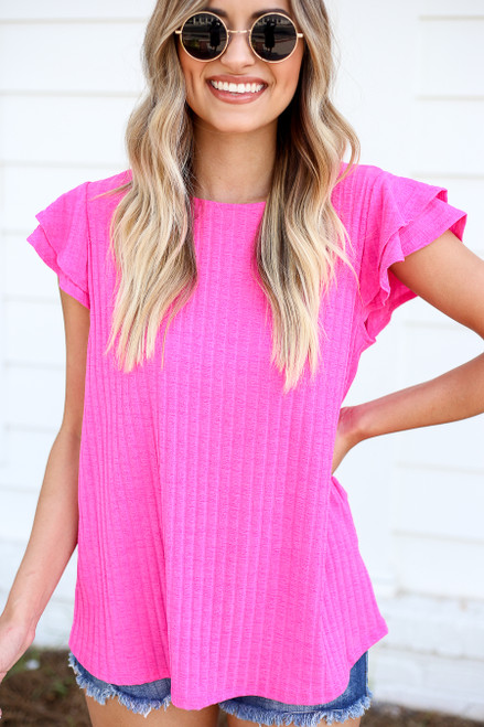Neon Pink - Ribbed Ruffle Sleeve Top