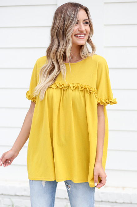 Mustard - Ruffled Tunic