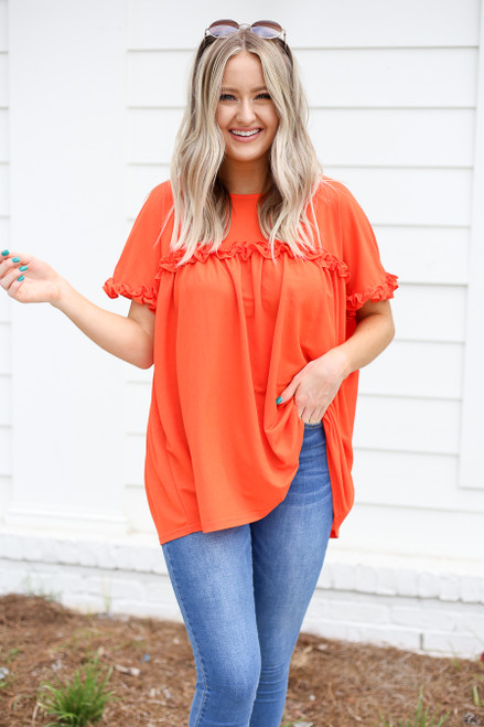 Orange - Ruffled Tunic