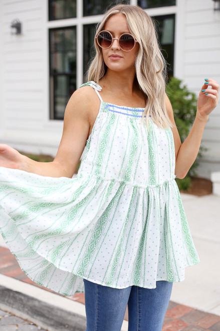 Mint - Printed Drawstring Ruffle Tank Front View