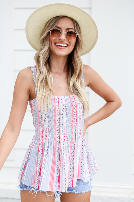 Model wearing Blue and Pink Printed Smocked Tank Side View