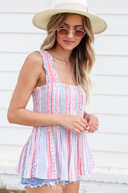 Model wearing Blue and Pink Printed Smocked Tank Front View