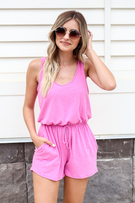 Model wearing Fuchsia Sleeveless French Terry Romper Front View