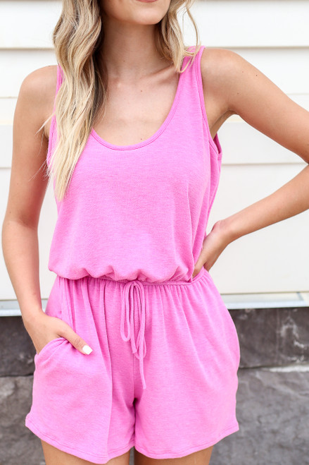 Fuchsia - Sleeveless French Terry Romper Detail View