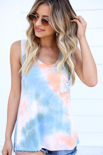 Blue - and Orange Tie-Dye Tank Top