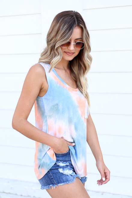 Blue - and Orange Tie-Dye Tank Top Side View