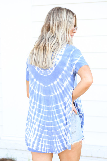 Model wearing Blue and White Tie-Dye Tee Back View