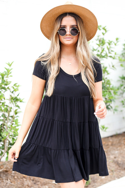 Black - Tiered T-Shirt Dress Front View