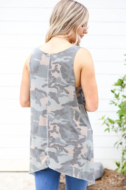 Model wearing Camo Tapered Tank Top Back View