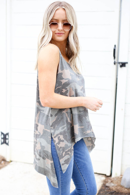 Model wearing Camo Tapered Tank Top Side View
