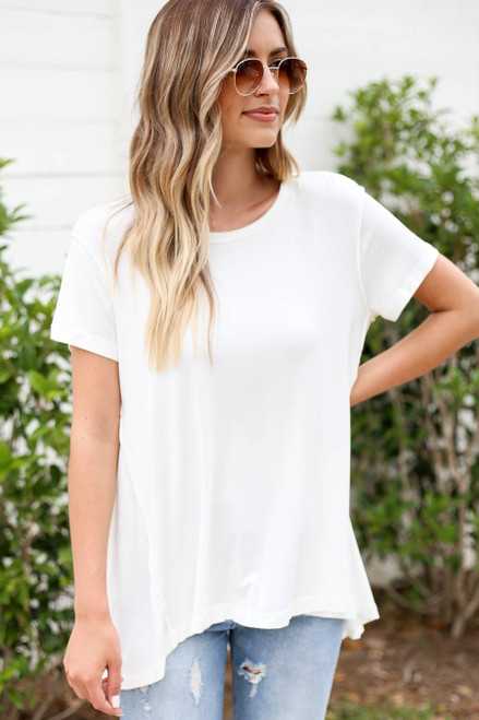 White - Exposed Stitch Tee