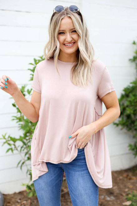 Taupe - Exposed Stitch Tee