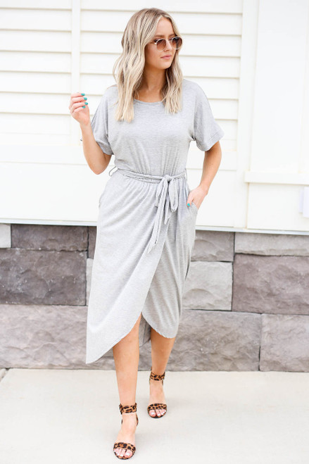 Heather Grey - Tulip Hem Midi Dress