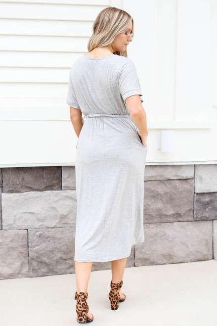 Heather Grey - Tulip Hem Midi Dress Back View