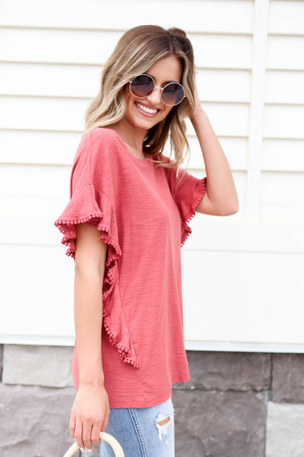 Rust - Circle Lace Ruffle Top