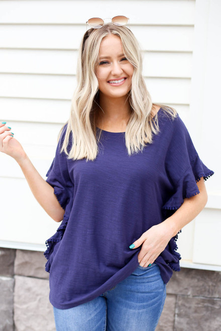 Navy - Circle Lace Top
