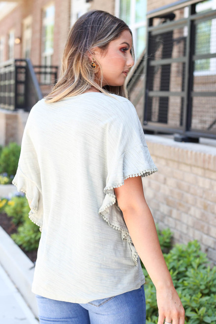Mint - Ruffled Circle Lace Top Back View