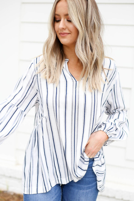 Navy - and White Striped Balloon Sleeve Blouse